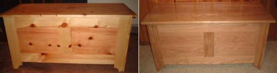 A pine chest and an oak chest