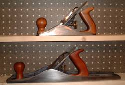 Hand planes with cherry and mahogany replacement knobs and handles